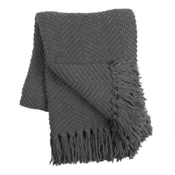 Solid Chunky Fringe Knitted-Style Throw Blanket