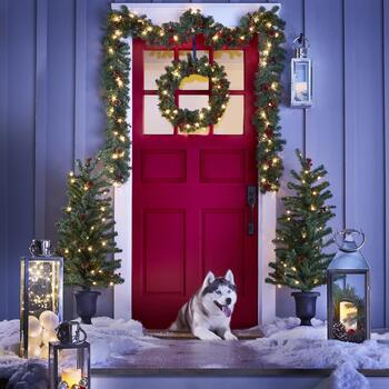 Christmas Lighted Outdoor Entryway Set, 6-Piece