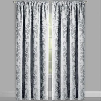 Chenille Scroll Jacquard Window Curtains, Set of 2 view 2