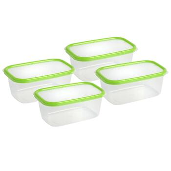 34-oz. Green Lid Plastic Storage Containers, Set of 4