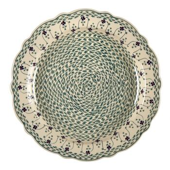 Polish Pottery Basketweave Jumbo Scalloped Pie Plate view 2
