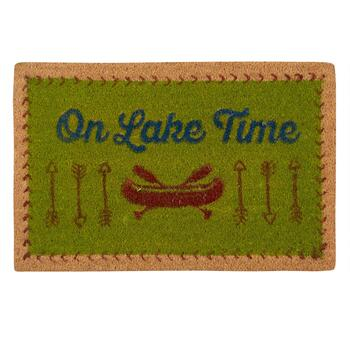 """On Lake Time"" Canoe Coir Door Mat"