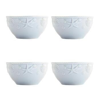 Pale Blue Coastal Embossed Cereal Bowls, Set of 4