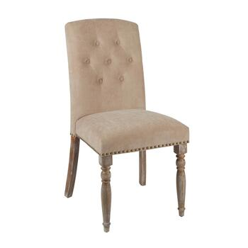 "37"" Spindle Leg Tufted Upholstery Parson's Chair with Nailheads"