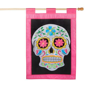 "28""x40"" Day of the Dead Skull Tab Top Yard Flag"