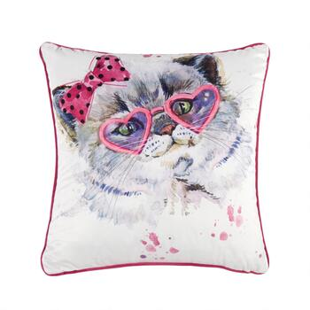 Cat Glasses Square Throw Pillow