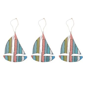 Striped Wood Sailboat Ornaments, Set of 3