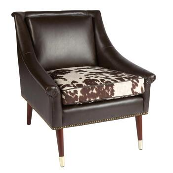 Faux Leather Accent Chair With Cow Print Cushion