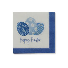 """Happy Easter"" Blue & White Bar Napkins, 20-Count view 1"