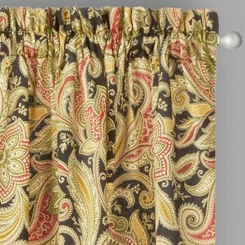 Traditions by Waverly® Black Rustic Floral Window Curtains, Set of 2