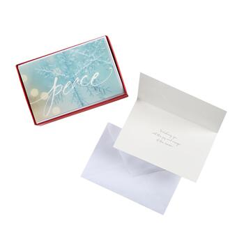 "14-Count ""Peace"" Snowflake Holiday Cards, Set of 2"