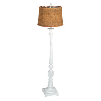 "61"" Rattan Shade Spindle Floor Lamp view 1"