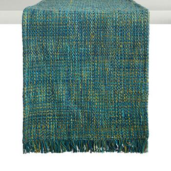 "72"" Aqua Fringed Table Runner"