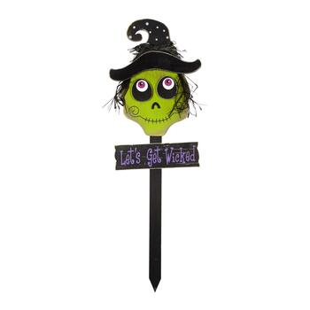 "36"" ""Let's Get Wicked"" Wood Garden Stake"