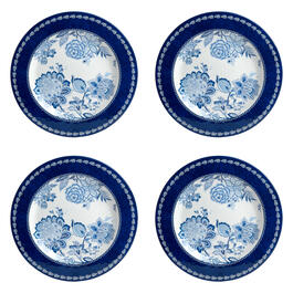 Waverly® Blue/White Floral Melamine Dinner Plates, Set of 4 view 1