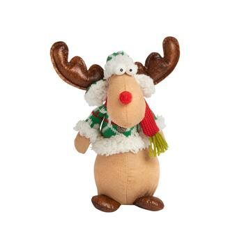"9"" Sitting Reindeer Decor with Holiday Sweater"