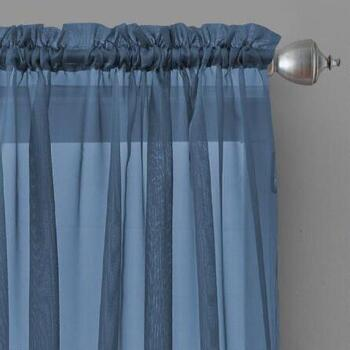 Voile Sheer-Style Rod Pocket Window Curtains, Set of 2
