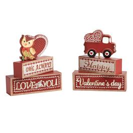 """Owl Always Love You"" Valentine's Wood Block Sitters, Set of 2"
