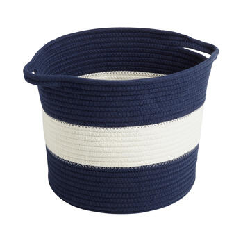 Two-Tone Woven Coiled Fabric Basket with Handles view 1