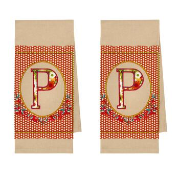 "Monogram ""P"" Dotted Kitchen Towels, Set of 2"