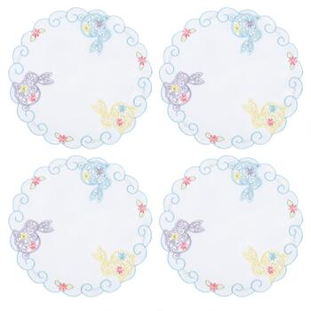 White Cutwork Floral Bunny Placemats, Set of 4