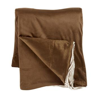 Horizontal Brown Stripe Faux Fur Throw Blanket view 2