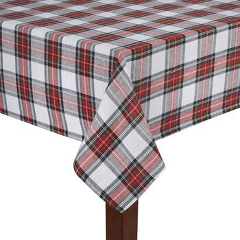 Green/Red Plaid Jacquard Cotton Tablecloth