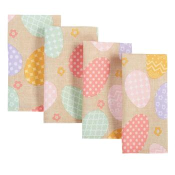 Pastel Patterned Eggs Fabric Napkins, 4-Pack