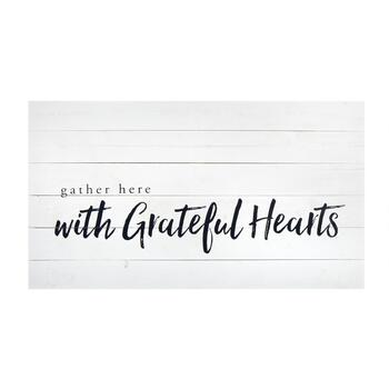 "The Grainhouse™ 19""x34"" ""Gather Here with Grateful Hearts"" Wood Wall Decor"