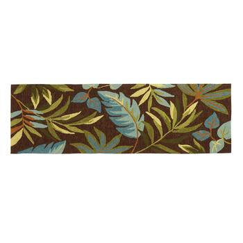 "22""x72"" Brown Palm Hooked All-Weather Runner Rug"