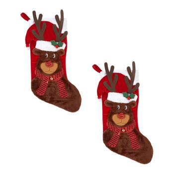 Sequined Scarf Reindeer Christmas Stockings, Set of 2