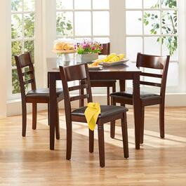 Espresso Wood Inlay Dining Set, 5-Piece
