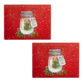 """Happy Holly Days"" Mason Jar Glass Cutting Boards, Set of 2"