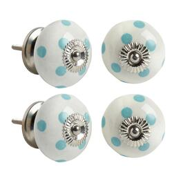 Blue Polka Dots Round Decorative Furniture Knobs, Set of 4