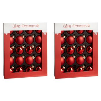 20-Count Red Shiny/Matte Glass Ornaments, Set of 2
