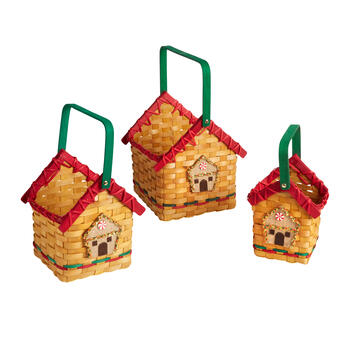 Gingerbread House Baskets, Set of 3 view 1