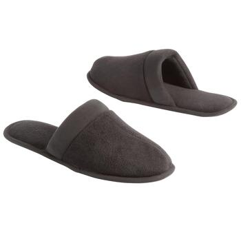 Famous Maker Men's Black Terry Scuff Slippers