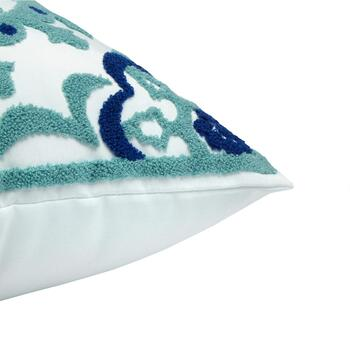 Blue/Green Medallion Indoor/Outdoor Square Throw Pillow view 2 view 3