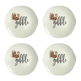 """Gobble"" Heavyweight Melamine Salad Plates, Set of 4"