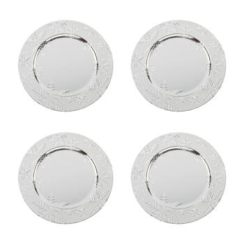 "13"" Silver Snowflakes Round Charger Plates, Set of 4"