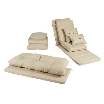 Solid Beige Woven Indoor/Outdoor Chair Cushions Collection view 1