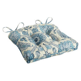 Waverly® Blue/White Floral Quilted Indoor/Outdoor Seat Pad view 1