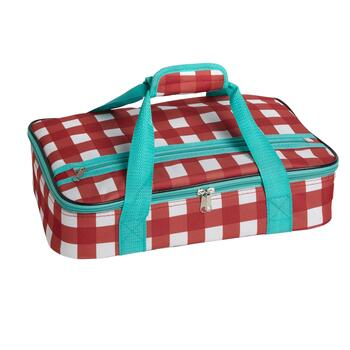 "10 75""x16"" Red Gingham Insulated Casserole Carrier"