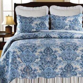 Navy Damask Reversible Cotton Quilt