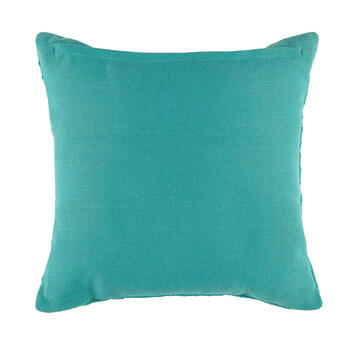 Solid Aqua Woven Indoor/Outdoor Square Throw Pillow view 2
