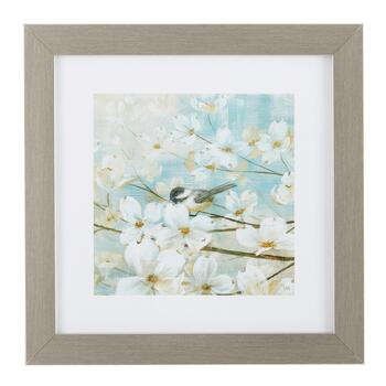 "13"" White Flower Framed Wall Art"