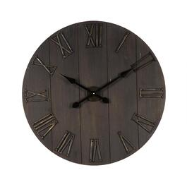 "The Grainhouse™ 31"" Bronze/Wood Plank Wall Clock"