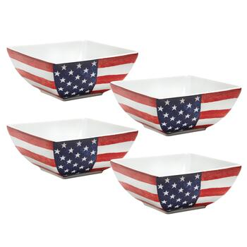 USA Old Glory Square Cereal Bowls, Set of 4