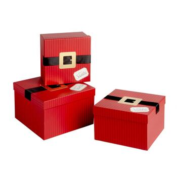 Santa Belt Square Gift Box Set, 3-Piece