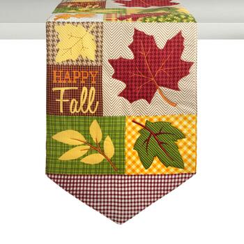 """Happy Fall"" Leaves Cotton Table Runner"